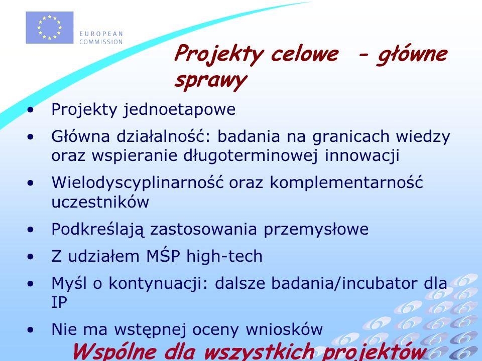 Projekty celowe - główne sprawy Projekty jednoetapowe Główna działalność: badania na granicach wiedzy oraz wspieranie długoterminowej innowacji Wielodyscyplinarność oraz komplementarność uczestników Podkreślają zastosowania przemysłowe Z udziałem MŚP high-tech Myśl o kontynuacji: dalsze badania/incubator dla IP Nie ma wstępnej oceny wniosków Wspólne dla wszystkich projektów