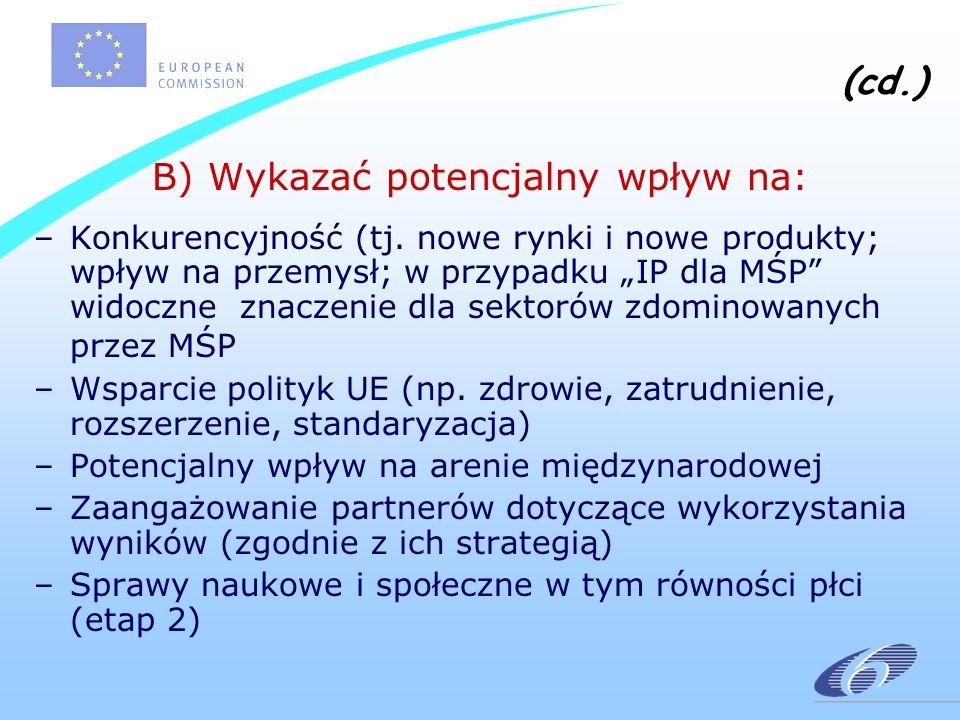 (cd.) B) Wykazać potencjalny wpływ na: –Konkurencyjność (tj.