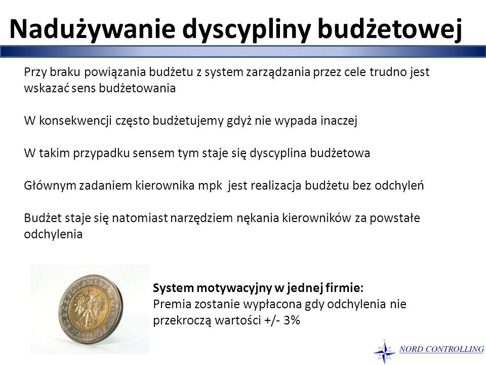 Nadużywanie dyscypliny budżetowej Przy braku powiązania budżetu z system zarządzania przez cele trudno jest wskazać sens budżetowania W konsekwencji c