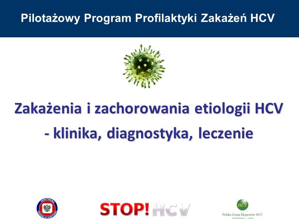 Pilotażowy Program Profilaktyki Zakażeń HCV Zakażenia i zachorowania etiologii HCV - klinika, diagnostyka, leczenie