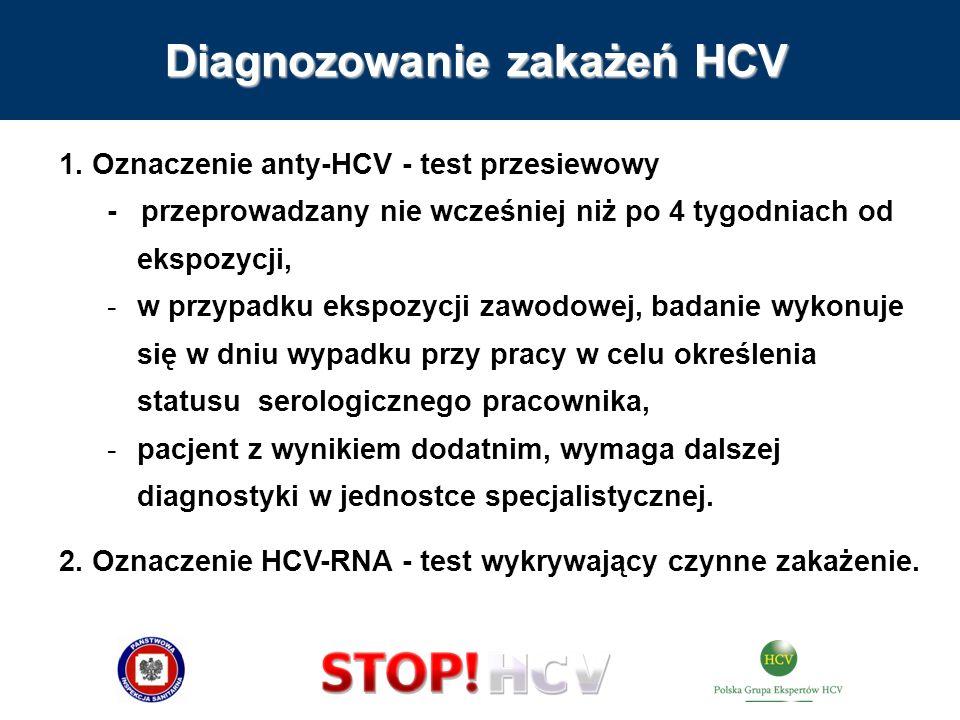 Diagnozowanie zakażeń HCV 1. Oznaczenie anty-HCV - test przesiewowy - przeprowadzany nie wcześniej niż po 4 tygodniach od ekspozycji, -w przypadku eks