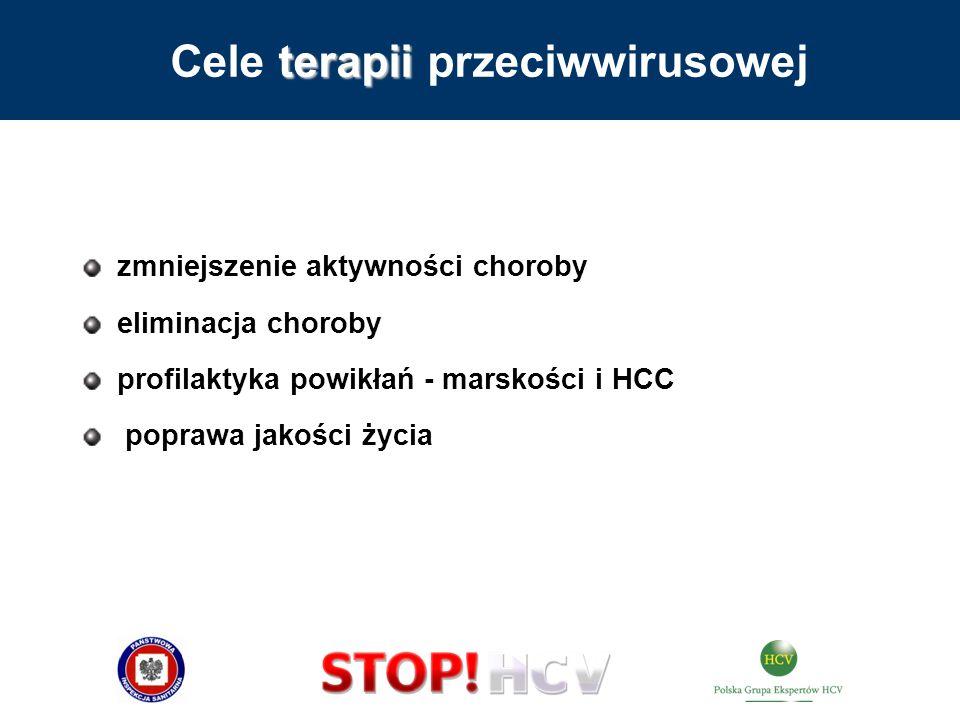 terapii Cele terapii przeciwwirusowej zmniejszenie aktywności choroby eliminacja choroby profilaktyka powikłań - marskości i HCC poprawa jakości życia