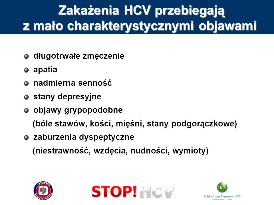 Zakażenia HCV przebiegają z mało charakterystycznymi objawami Zakażenia HCV przebiegają z mało charakterystycznymi objawami długotrwałe zmęczenie apat