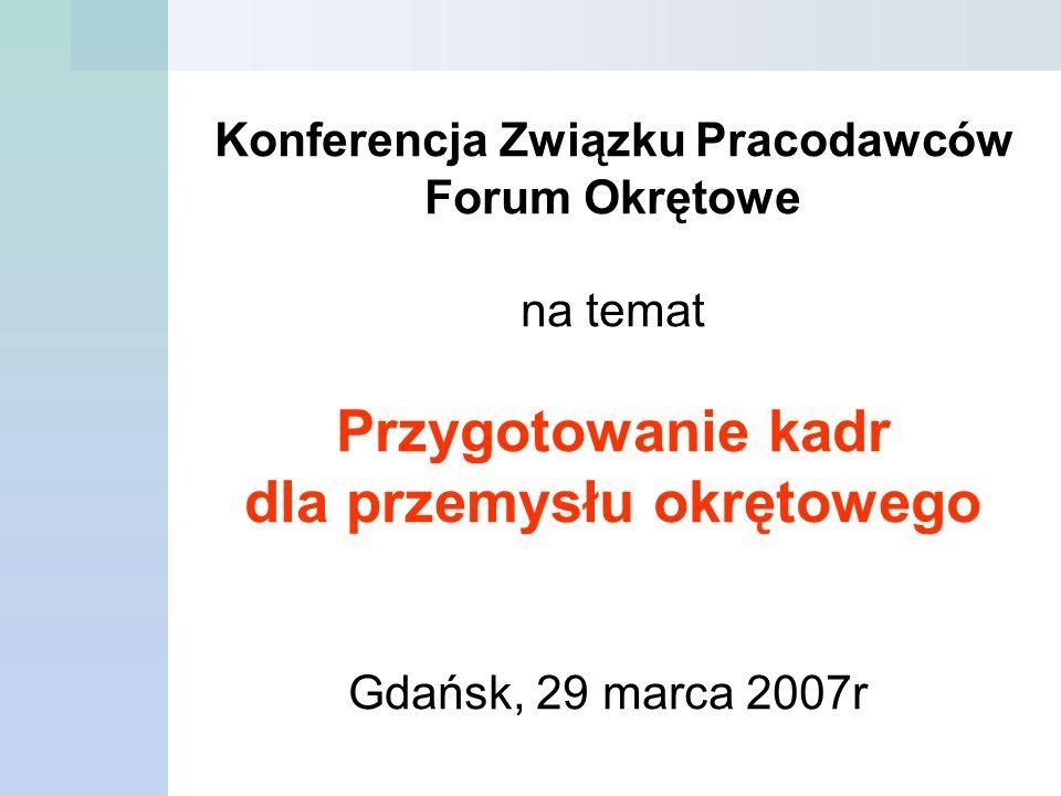 Konferencja Związku Pracodawców Forum Okrętowe na temat Przygotowanie kadr dla przemysłu okrętowego Gdańsk, 29 marca 2007r