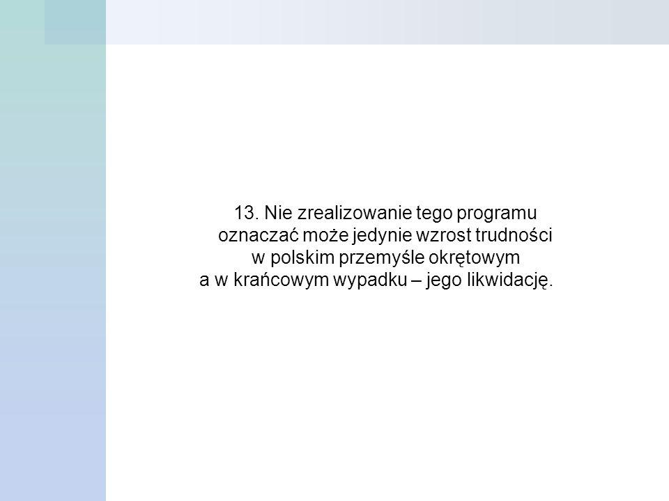 13. Nie zrealizowanie tego programu oznaczać może jedynie wzrost trudności w polskim przemyśle okrętowym a w krańcowym wypadku – jego likwidację.