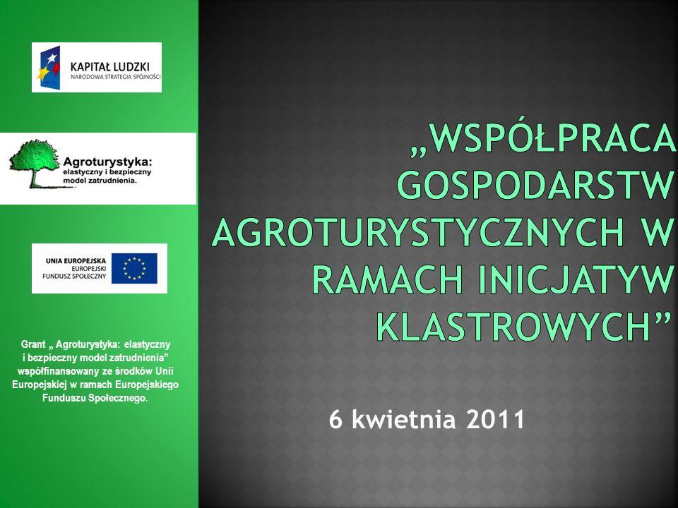 (na podstawie diagnozy Ministerstwa Sportu i Turystyki) Grant Agroturystyka: elastyczny i bezpieczny model zatrudnienia współfinansowany ze środków Unii Europejskiej w ramach Europejskiego Funduszu Społecznego.