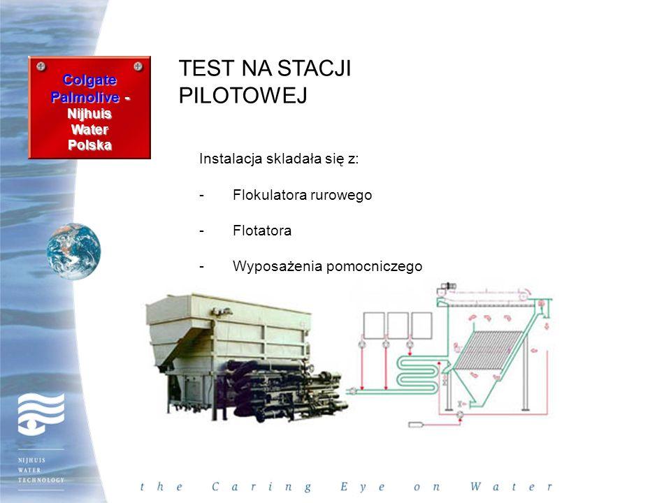 Colgate Palmolive - Nijhuis WaterPolska TEST NA STACJI PILOTOWEJ Instalacja skladała się z: -Flokulatora rurowego -Flotatora -Wyposażenia pomocniczego