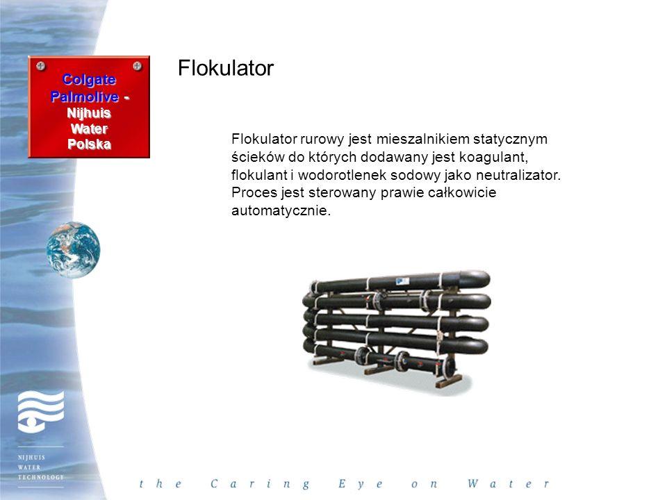 Colgate Palmolive - Nijhuis WaterPolska Flokulator Flokulator rurowy jest mieszalnikiem statycznym ścieków do których dodawany jest koagulant, flokula