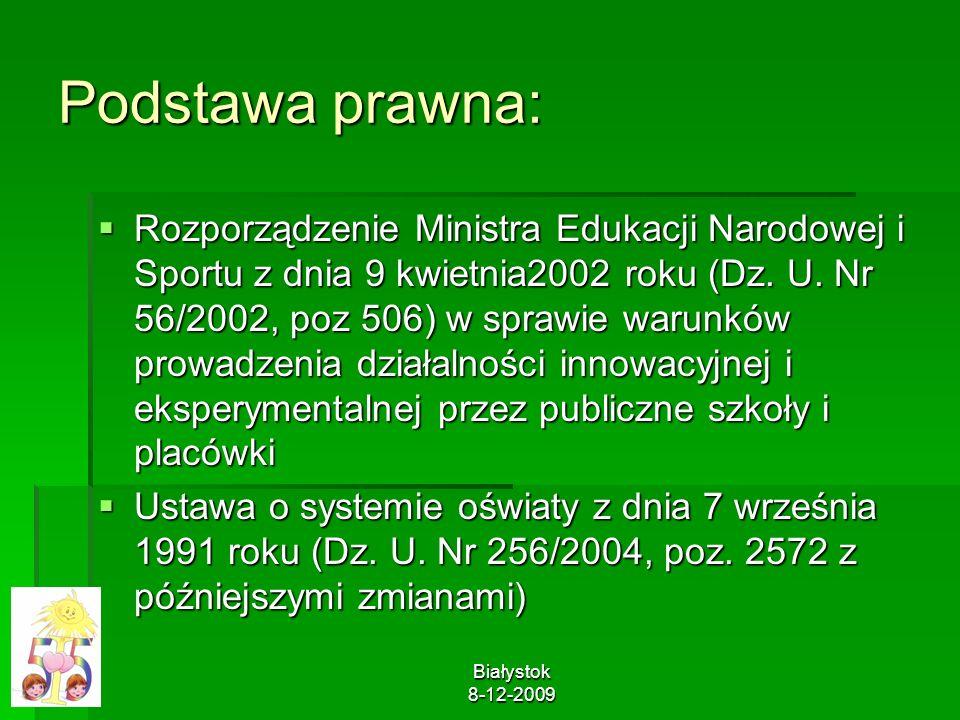 Białystok 8-12-2009 Podstawa prawna: Rozporządzenie Ministra Edukacji Narodowej i Sportu z dnia 9 kwietnia2002 roku (Dz. U. Nr 56/2002, poz 506) w spr
