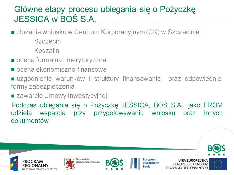 15 Główne etapy procesu ubiegania się o Pożyczkę JESSICA w BOŚ S.A. złożenie wniosku w Centrum Korporacyjnym (CK) w Szczecinie: Szczecin Koszalin ocen