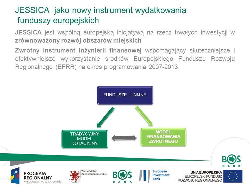 3 JESSICA jako nowy instrument wydatkowania funduszy europejskich JESSICA Efekt dźwigni – możliwość uczestniczenia inwestorów prywatnych i publicznych..