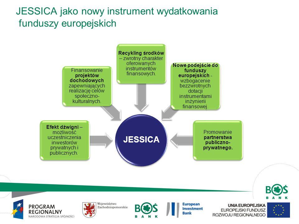 4 Przykłady projektów miejskich w JESSICA Rewitalizacja starych, nieużytkowanych budynków poprzemysłowych; Rewitalizacja powojskowych i poprzemysłowych obszarów; Projekty z zakresu rewitalizacji/odnowy miast: rewitalizacja starych i zdegradowanych obszarów charakteryzujących się brakiem dostępu do: wysokiej jakości usług, powierzchni przeznaczonej dla MŚP, infrastruktury rekreacyjno- sportowej.