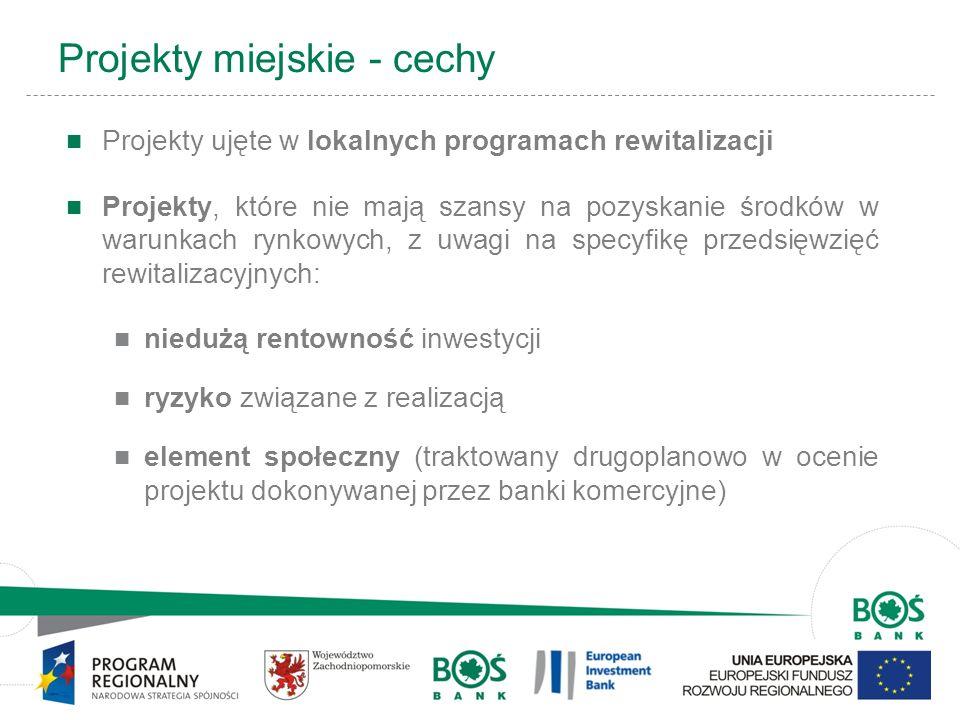 5 Projekty miejskie - cechy Projekty ujęte w lokalnych programach rewitalizacji Projekty, które nie mają szansy na pozyskanie środków w warunkach rynk