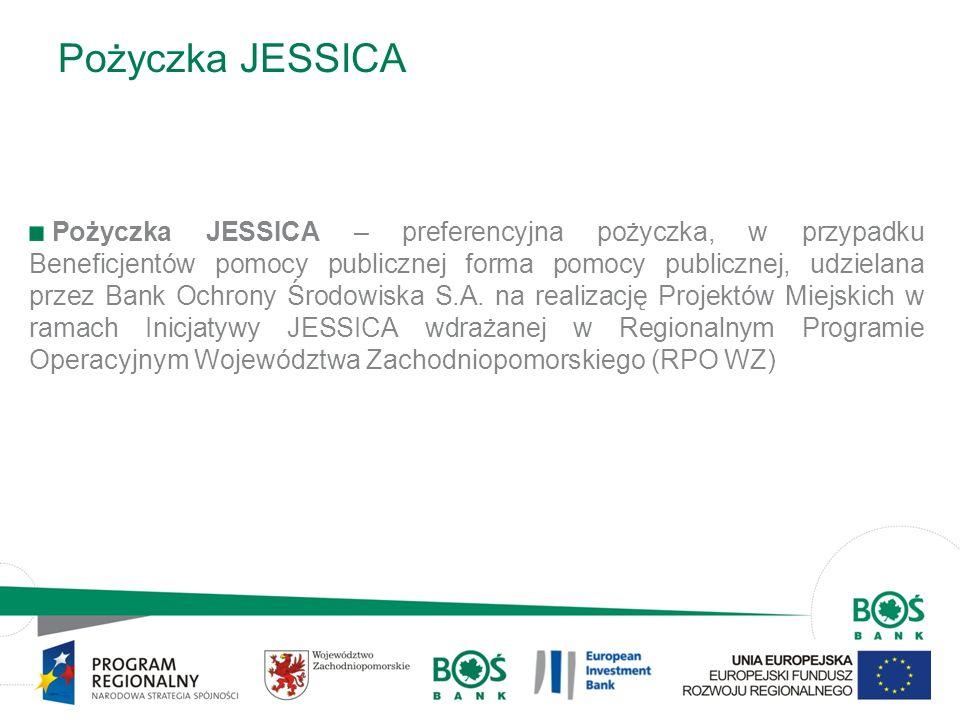 7 Pożyczka JESSICA Pożyczka JESSICA – preferencyjna pożyczka, w przypadku Beneficjentów pomocy publicznej forma pomocy publicznej, udzielana przez Ban