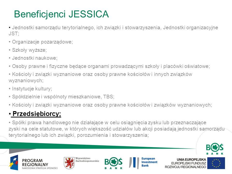 8 Beneficjenci JESSICA Jednostki samorządu terytorialnego, ich związki i stowarzyszenia, Jednostki organizacyjne JST; Organizacje pozarządowe; Szkoły