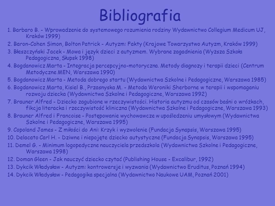 Bibliografia 1. Barbaro B. - Wprowadzenie do systemowego rozumienia rodziny Wydawnictwo Collegium Medicum UJ, Kraków 1999) 2. Baron-Cohen Simon, Bolto