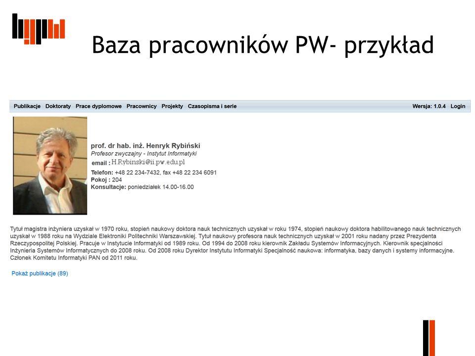 Baza pracowników PW- przykład
