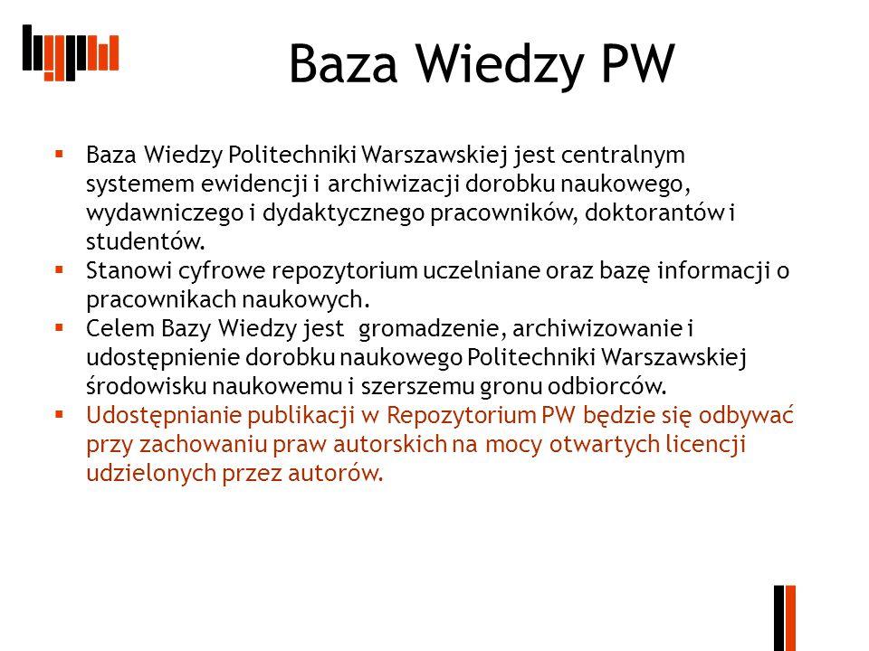 Informacje kontaktowe Testowa wersja repozytorium do celów szkoleniowych znajduje się pod adresem: http://wizzar.ii.pw.edu.pl/RepoPW/ http://wizzar.ii.pw.edu.pl/RepoPW/ Wersja produkcyjna (docelowa) znajduje się pod adresem: http://repo.pw.edu.pl/ Informacje o repozytorium na stronie BG PW: http://www.bg.pw.edu.pl/index.php/dorobek- naukowy-pracownikow-pw/repozytorium-pw http://www.bg.pw.edu.pl/index.php/dorobek- naukowy-pracownikow-pw/repozytorium-pw Instrukcje: http://www.elka.pw.edu.pl/pol/Badania- naukowe/Repozytorium-WEiTI/Podrecznik- uzytkownika http://www.elka.pw.edu.pl/pol/Badania- naukowe/Repozytorium-WEiTI/Podrecznik- uzytkownika http://www.bg.pw.edu.pl/dane/repo/Repozyto riumPW_Podrecznik_edytora_v05.pdf http://www.bg.pw.edu.pl/dane/repo/Repozyto riumPW_Podrecznik_edytora_v05.pdf http://www.bg.pw.edu.pl/dane/repo/repozyto rium_instrukcja_wprowadzania.pdf http://www.bg.pw.edu.pl/dane/repo/repozyto rium_instrukcja_wprowadzania.pdf Kontakt BGPW M.Lewandowska – tel.