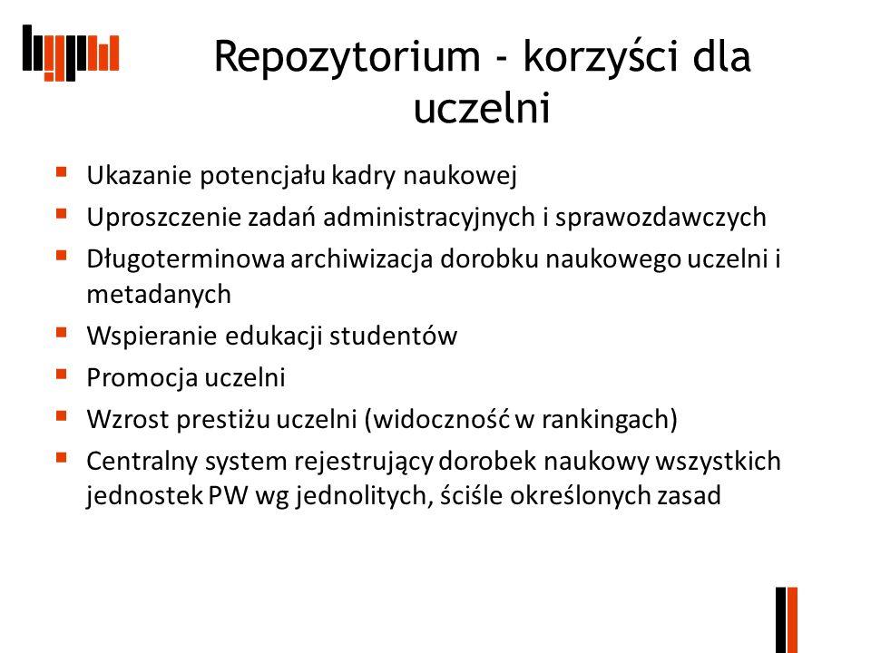 Repozytorium - korzyści dla uczelni Ukazanie potencjału kadry naukowej Uproszczenie zadań administracyjnych i sprawozdawczych Długoterminowa archiwiza