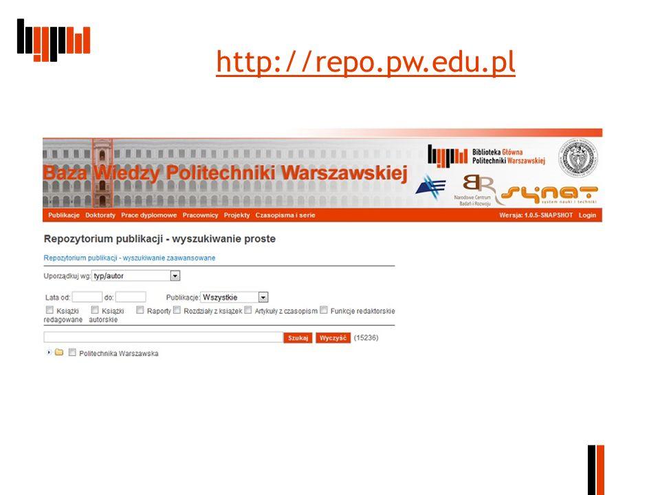Centralny System Ewidencji Dorobku Naukowego System Repozytorium oferuje szerokie możliwości wyszukiwania publikacji pracowników, prezentowania informacji dotyczących odnalezionych publikacji jak również wykorzystanie odnośników podanych w tych opisach do światowych zasobów informacyjnych dostępnych w Internecie.
