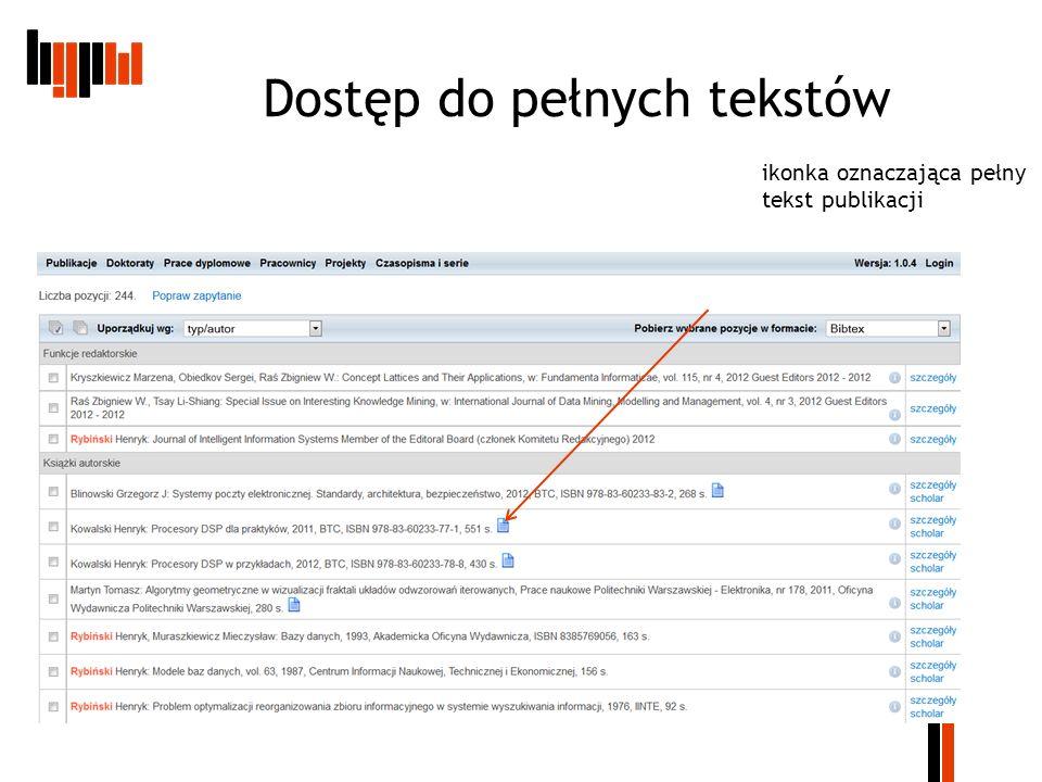 Dostęp do pełnych tekstów ikonka oznaczająca pełny tekst publikacji