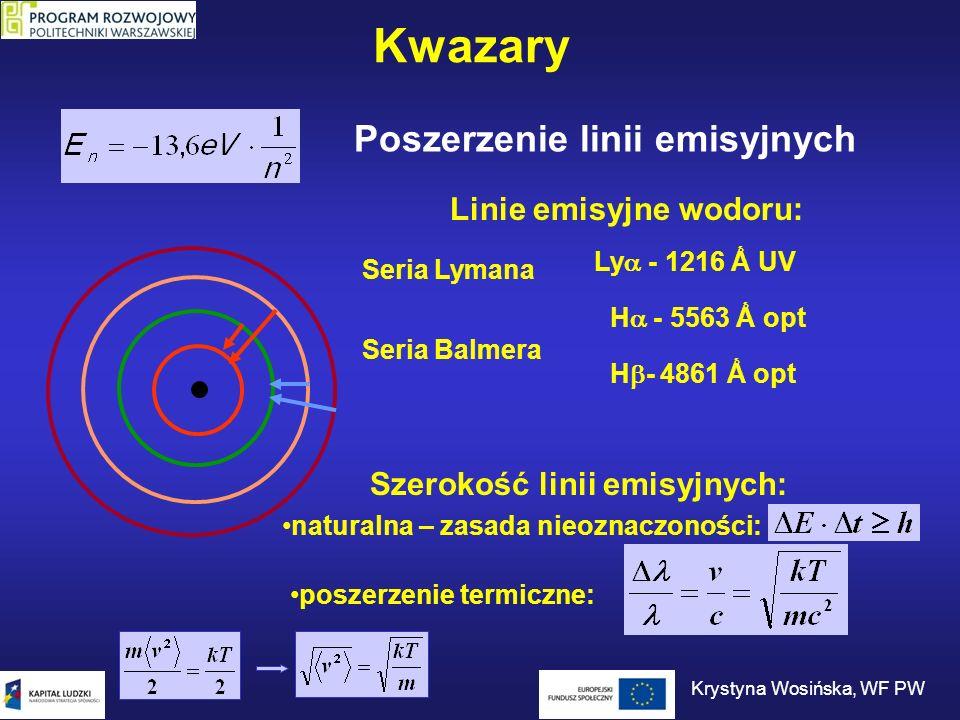 Budowa kwazara Dysk akrecyjny – gaz tak silnie rozgrzany, że jego jasność w świetle widzialnym jest setki lub tysiące razy większa niż jasność wszystkich gwiazd galaktyki (szerokie linie emisyjne).