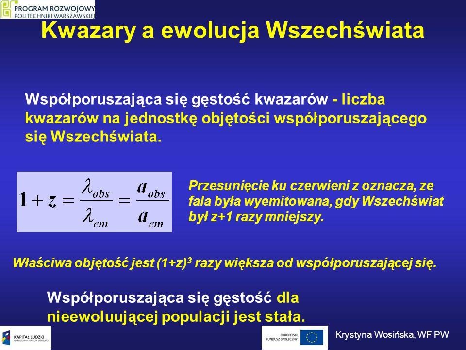 Kwazary a ewolucja Wszechświata Epoka kwazarów Ewolucja w czasie względnej gęstości kwazarów.