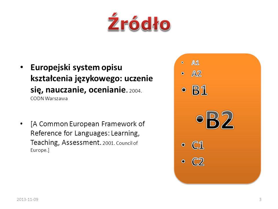 Europejski system opisu kształcenia językowego: uczenie się, nauczanie, ocenianie. 2004. CODN Warszawa [A Common European Framework of Reference for L