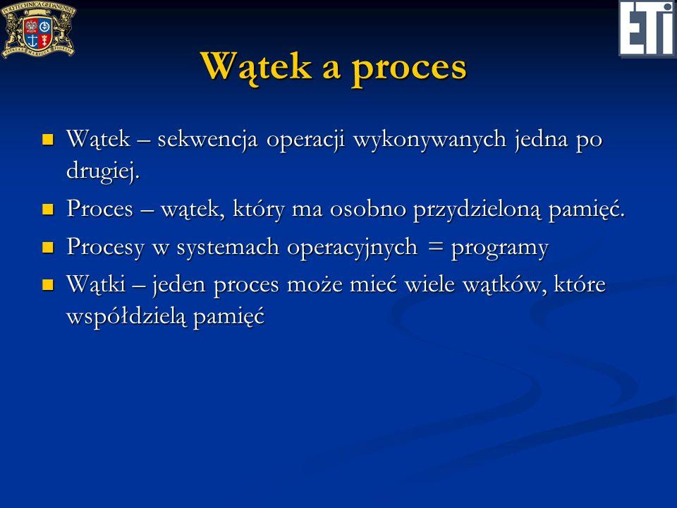 Kluczowe problemy współbieżności Współdzielenie zasobów Współdzielenie zasobów Problem zakleszczenia (blokady) Problem zakleszczenia (blokady) Problem zagłodzenia Problem zagłodzenia