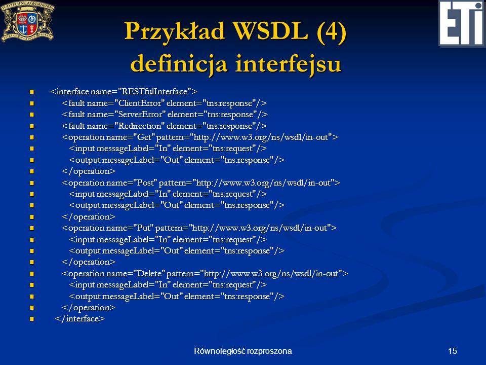 15Równoległość rozproszona Przykład WSDL (4) definicja interfejsu