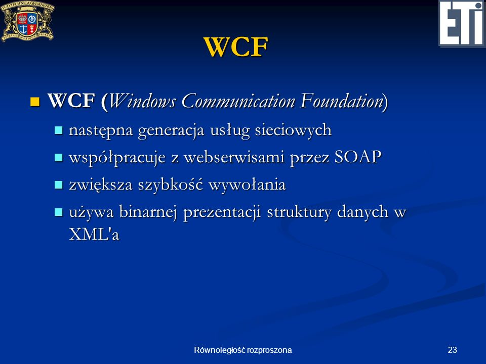 23Równoległość rozproszona WCF WCF (Windows Communication Foundation) WCF (Windows Communication Foundation) następna generacja usług sieciowych nastę