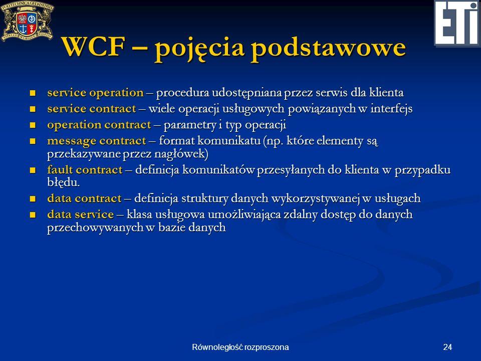 24Równoległość rozproszona WCF – pojęcia podstawowe service operation – procedura udostępniana przez serwis dla klienta service operation – procedura