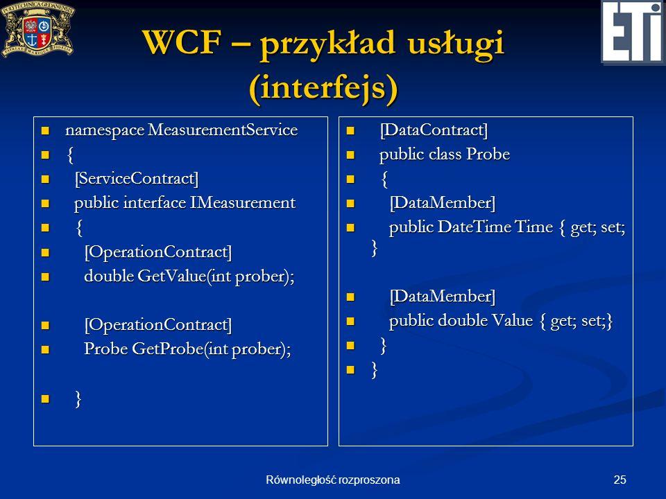 25Równoległość rozproszona WCF – przykład usługi (interfejs) namespace MeasurementService namespace MeasurementService { [ServiceContract] [ServiceCon