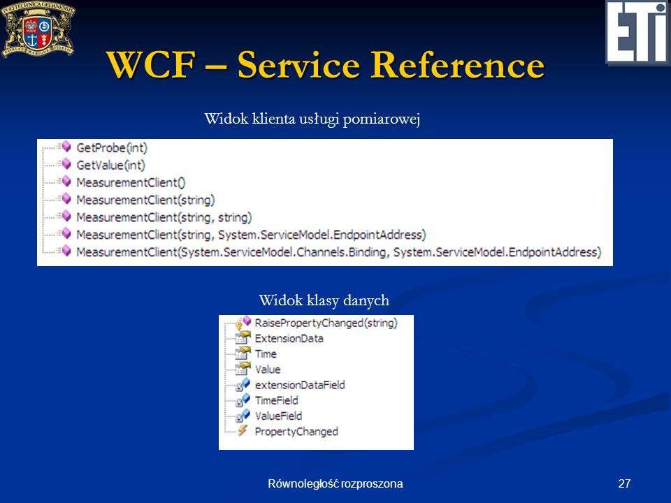 27Równoległość rozproszona WCF – Service Reference Widok klienta usługi pomiarowej Widok klasy danych