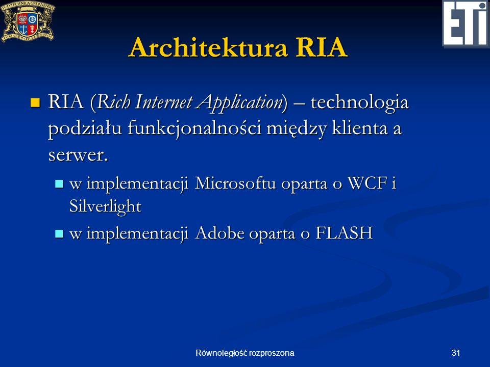 31Równoległość rozproszona Architektura RIA RIA (Rich Internet Application) – technologia podziału funkcjonalności między klienta a serwer. RIA (Rich