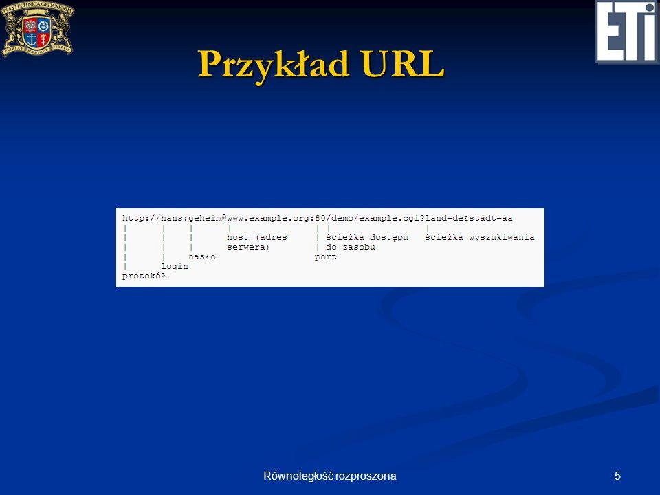 6Równoległość rozproszona Przykład żądania HTTP GET / HTTP/1.1 (prośba o zwrócenie dokumentu o URI / zgodnie z protokołem HTTP 1.1) GET / HTTP/1.1 (prośba o zwrócenie dokumentu o URI / zgodnie z protokołem HTTP 1.1) Host: host.com (wymagany w HTTP 1.1 nagłówek Host służący do rozpoznania hosta, jeśli serwer na jednym IP obsługuje kilka VirtualHostów) Host: host.com (wymagany w HTTP 1.1 nagłówek Host służący do rozpoznania hosta, jeśli serwer na jednym IP obsługuje kilka VirtualHostów) User-Agent: Mozilla/5.0 (X11; U; Linux i686; pl; rv:1.8.1.7) Gecko/20070914 Firefox/2.0.0.7 (nazwa aplikacji klienckiej) User-Agent: Mozilla/5.0 (X11; U; Linux i686; pl; rv:1.8.1.7) Gecko/20070914 Firefox/2.0.0.7 (nazwa aplikacji klienckiej) Accept: text/xml,application/xml,application/xhtml+xml,text/html; q=0.9,text/plain;q=0.8 (akceptowane/nieakceptowane przez klienta typy plików) Accept: text/xml,application/xml,application/xhtml+xml,text/html; q=0.9,text/plain;q=0.8 (akceptowane/nieakceptowane przez klienta typy plików) Accept-Language: pl,en-us;q=0.7,en;q=0.3 (preferowany język strony) Accept-Language: pl,en-us;q=0.7,en;q=0.3 (preferowany język strony) Accept-Charset: ISO-8859-2,utf-8;q=0.7,*;q=0.7 (preferowane kodowanie znaków) Accept-Charset: ISO-8859-2,utf-8;q=0.7,*;q=0.7 (preferowane kodowanie znaków) Keep-Alive: 300 (czas, następnego żądania w przypadku połączenia stałego) Keep-Alive: 300 (czas, następnego żądania w przypadku połączenia stałego) Connection: keep-alive (chęć nawiązania połączenia stałego serwerem) Connection: keep-alive (chęć nawiązania połączenia stałego serwerem) znak powrotu karetki i nowej linii (CRLF) znak powrotu karetki i nowej linii (CRLF)