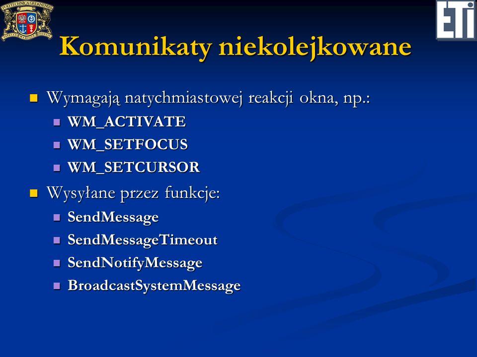 Komunikaty niekolejkowane Wymagają natychmiastowej reakcji okna, np.: Wymagają natychmiastowej reakcji okna, np.: WM_ACTIVATE WM_ACTIVATE WM_SETFOCUS