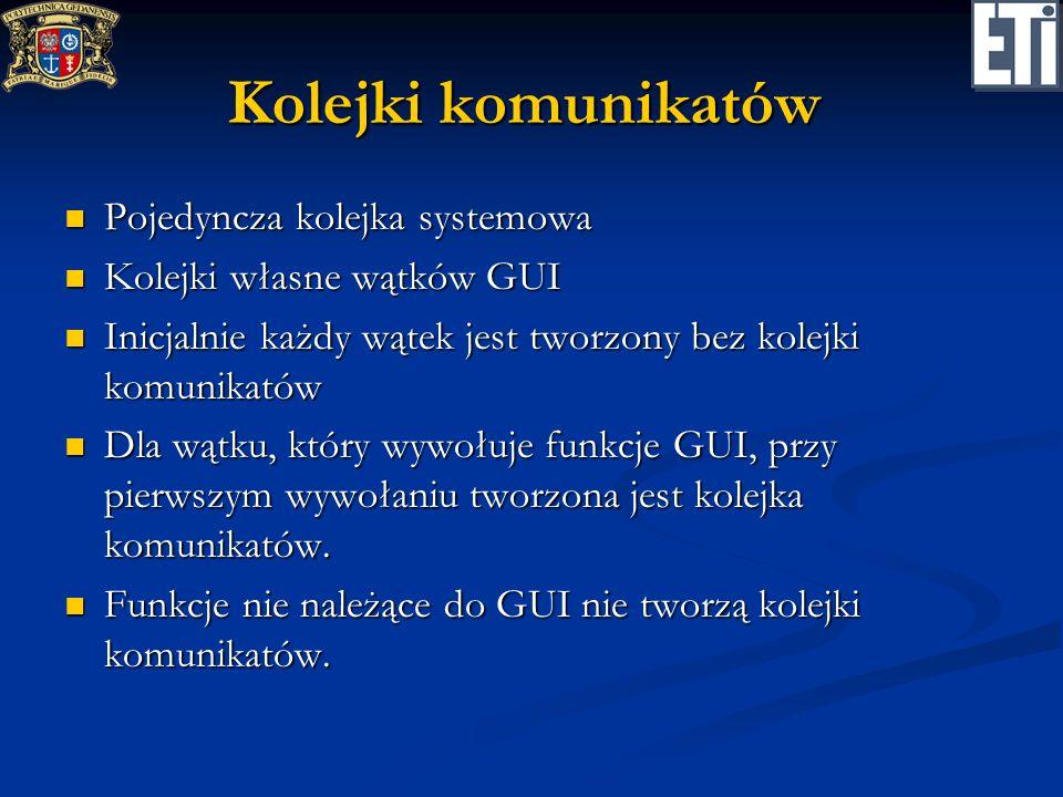 Kolejki komunikatów Pojedyncza kolejka systemowa Pojedyncza kolejka systemowa Kolejki własne wątków GUI Kolejki własne wątków GUI Inicjalnie każdy wąt