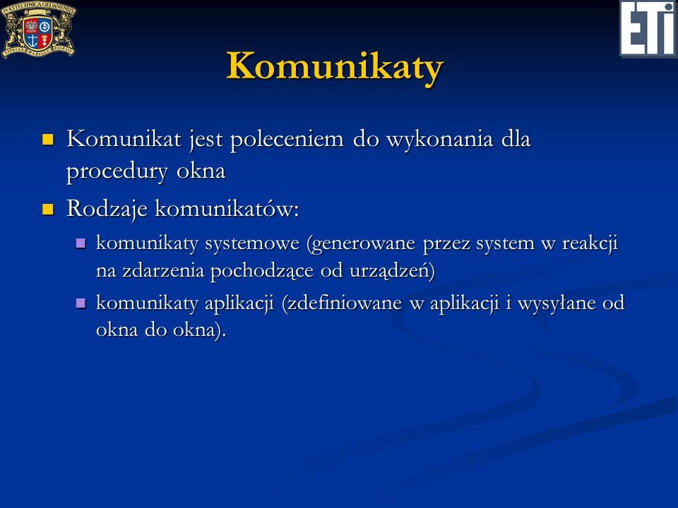 Komunikaty Komunikat jest poleceniem do wykonania dla procedury okna Komunikat jest poleceniem do wykonania dla procedury okna Rodzaje komunikatów: Ro
