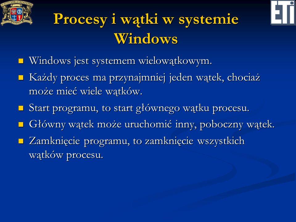 Procesy i wątki w systemie Windows Windows jest systemem wielowątkowym. Windows jest systemem wielowątkowym. Każdy proces ma przynajmniej jeden wątek,
