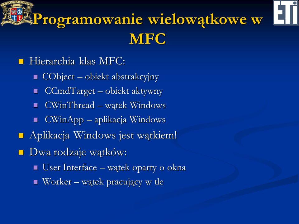 Programowanie wielowątkowe w MFC Hierarchia klas MFC: Hierarchia klas MFC: CObject – obiekt abstrakcyjny CObject – obiekt abstrakcyjny CCmdTarget – ob