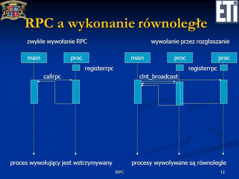 12RPC clnt_broadcast RPC a wykonanie równoległe mainproc registerrpc callrpc zwykłe wywołanie RPC proces wywołujący jest wstrzymywany mainproc registe