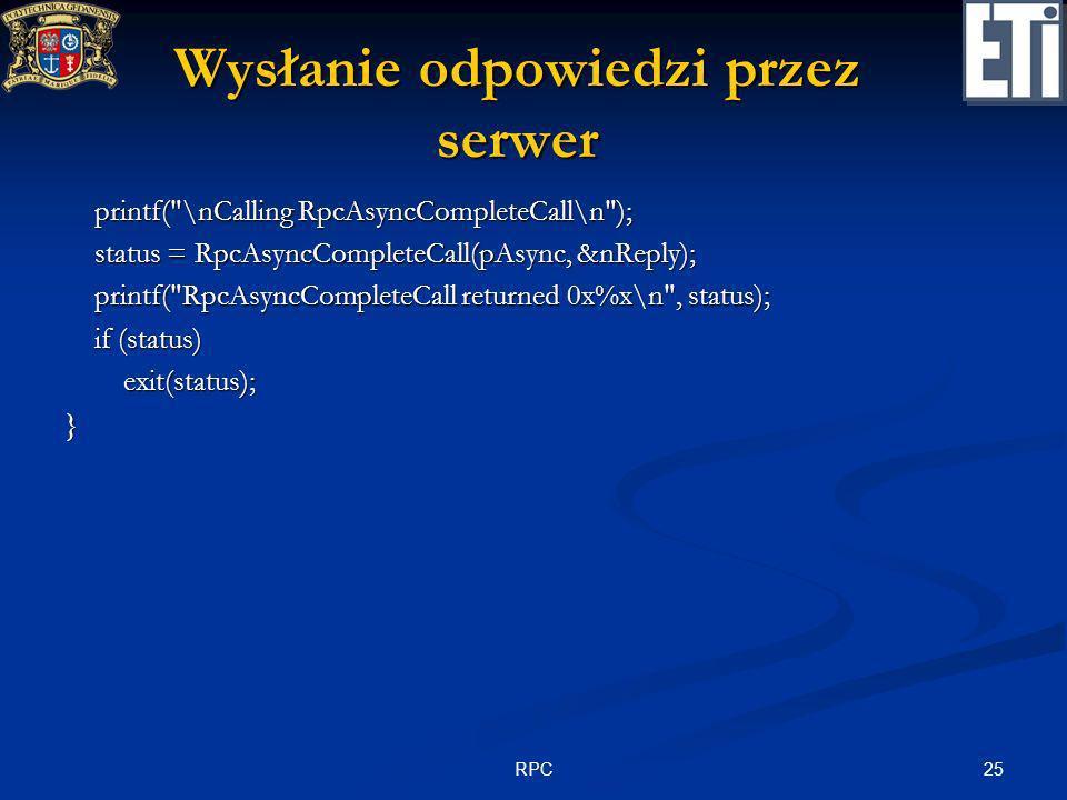 25RPC Wysłanie odpowiedzi przez serwer printf(
