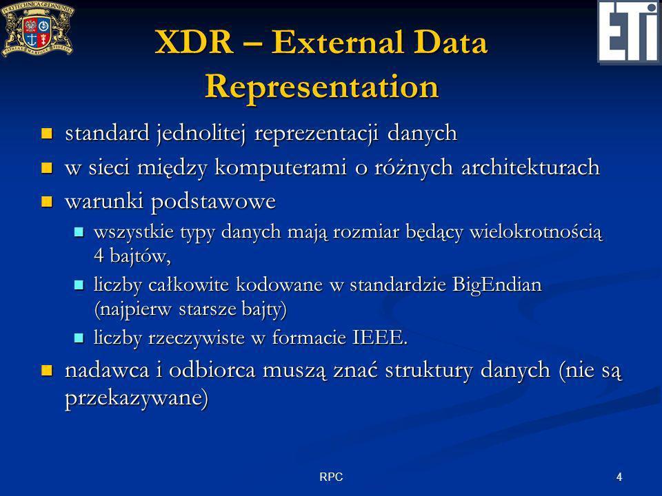 4RPC XDR – External Data Representation standard jednolitej reprezentacji danych standard jednolitej reprezentacji danych w sieci między komputerami o