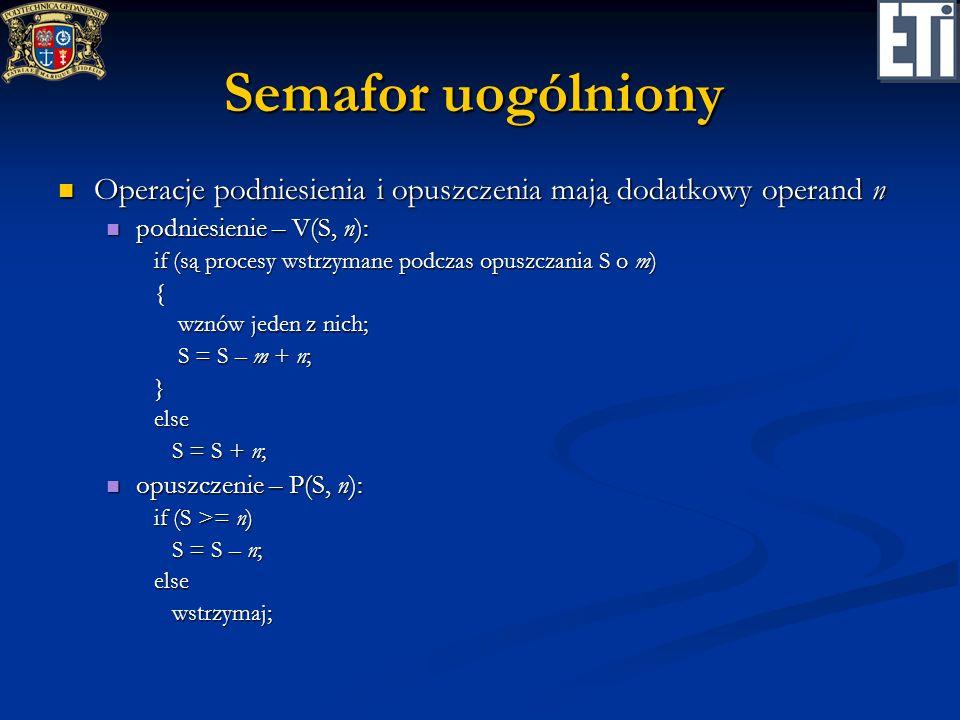 Semafor uogólniony Operacje podniesienia i opuszczenia mają dodatkowy operand n Operacje podniesienia i opuszczenia mają dodatkowy operand n podniesie