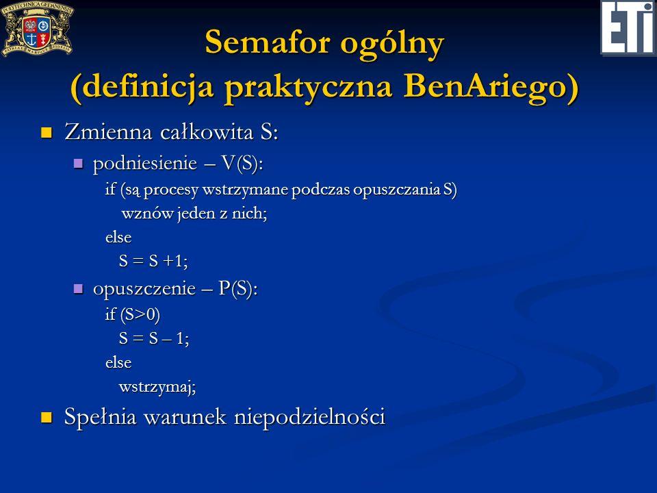 Semafor ogólny (definicja praktyczna BenAriego) Zmienna całkowita S: Zmienna całkowita S: podniesienie – V(S): podniesienie – V(S): if (są procesy wst