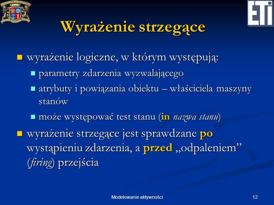 12Modelowanie aktywności Wyrażenie strzegące wyrażenie logiczne, w którym występują: wyrażenie logiczne, w którym występują: parametry zdarzenia wyzwa