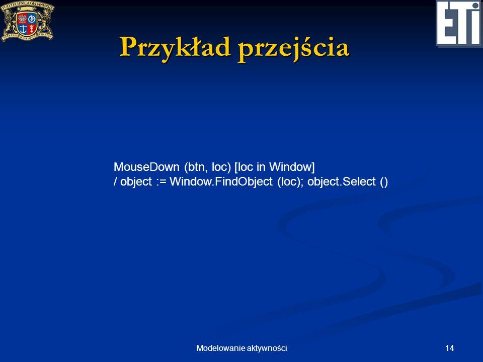 14Modelowanie aktywności Przykład przejścia MouseDown (btn, loc) [loc in Window] / object := Window.FindObject (loc); object.Select ()