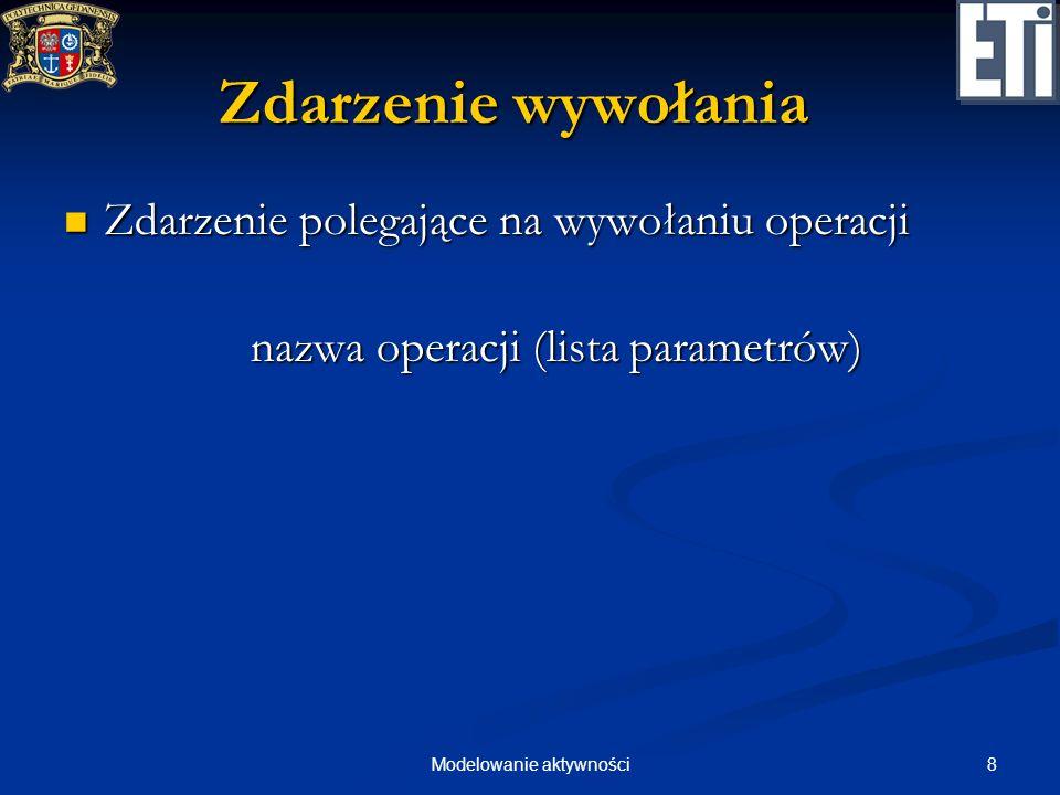 8Modelowanie aktywności Zdarzenie wywołania Zdarzenie polegające na wywołaniu operacji Zdarzenie polegające na wywołaniu operacji nazwa operacji (list