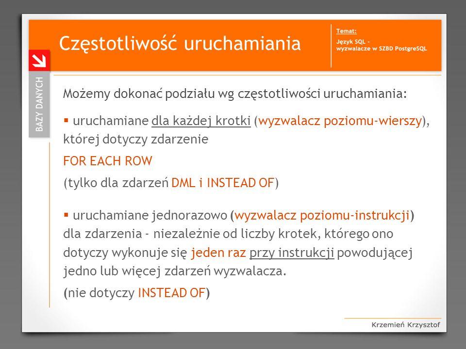Przykładowe zastosowania wyzwalaczy Wysyłanie do użytkowników systemu natychmiastowych komunikatów (np.